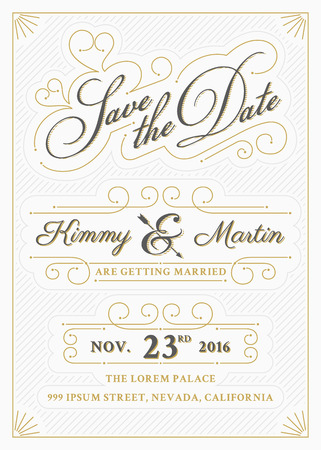 romantic date: Vintage save the date card letterpress style design. Very easy to edit. Save the date template. All type use free font. Vector illustration Illustration