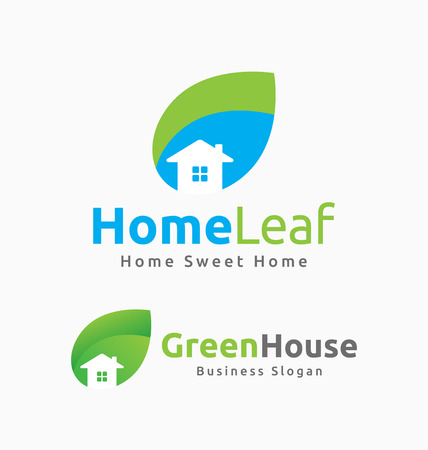green construction: Abstract House and Leaf Logo Template Design. Suitable for Building related, House, Resort, Spa, Construction, Real Estate. Illustration