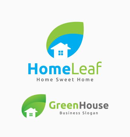 logo batiment: Résumé Maison et Leaf Logo Template Design. Convient pour bâtiment connexe, Maison, Resort, Spa, Construction, Immobilier.