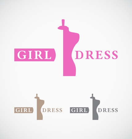 sew: Dressmakers shop and store logo design. Suitable for woman and girl dress shop, dressmaker, fashion store.  Illustration