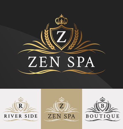 Premium Royal Crest Logo Design. Suitable for Spa, beauty Center, Real Estate, Hotel, Resort, House logo  Vectores
