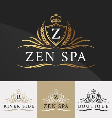 Prima Diseño Logo Royal Crest. Apto para spa, centro de belleza, Bienes Raíces, Hotel, Resort, Insignia de la casa Foto de archivo - 46956717