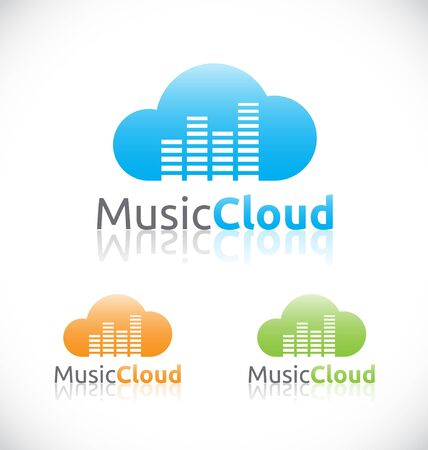 wav: Abstract audio music cloud online service and technology logo template design. Easy ti change color.  Illustration