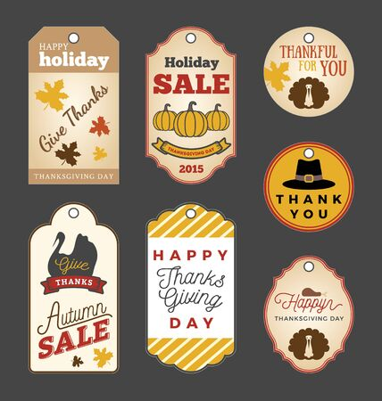 caes: Set of Thanksgiving gift tags and Autumn sale promotion tag labels design. Thank you tag collection.
