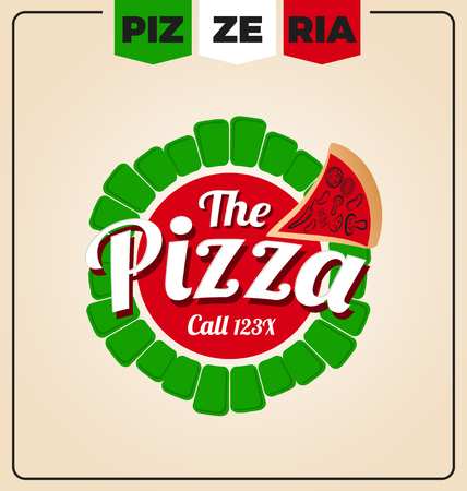 pizzeria label: pizzeria logo template design. Pizza labels and frames