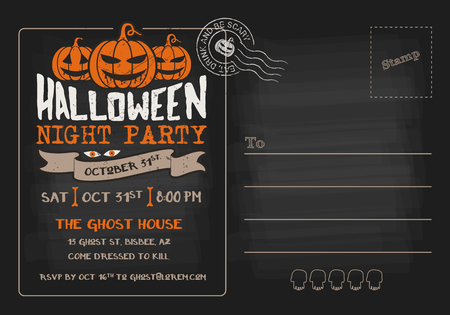 postcard background: Halloween Party and Costume Contest Postcard Invitation Template Illustration