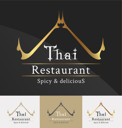 Thai restaurant logo template design. Thai art decoration element. Vector illustration Çizim