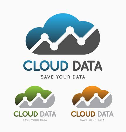 クラウド データ技術のロゴのコンセプト。データ センター サービスのロゴのテンプレートです。