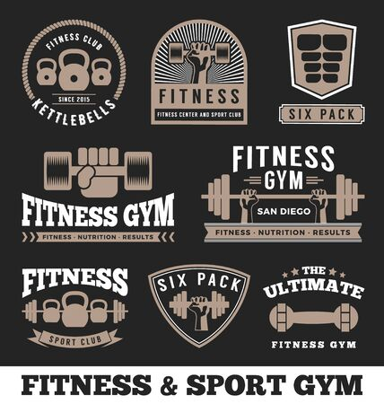 barbell: Set of fitness gym and sport club logo emblem design.