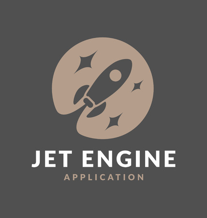 jet engine: Abstract flying rocket jet engine negative space logo design. Suitable for web application, Mobile application, Technology concept, fast and move forward concept.