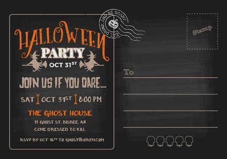 party invitation: Halloween Party Postcard Invitation Template.