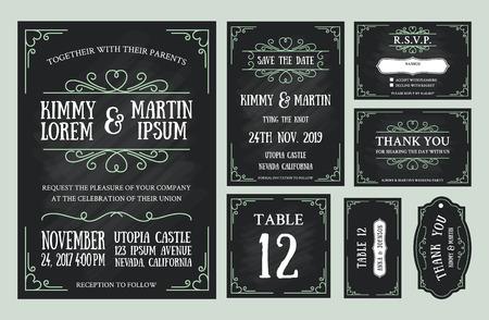 Vintage trouwkaart bord ontwerp sets bevatten kaart van de uitnodiging, sparen de datum, RSVP kaart, Dank u kaarden, lijst aantal, markeringen van de gift, Place kaarten, reageren kaart. Stock Illustratie