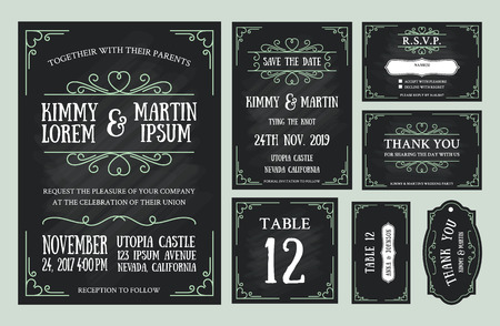 date: Vintage wedding invitation chalkboard design sets include Invitation card, Save the date, RSVP card, Thank you card, Table number, Gift tags, Place cards, Respond card. Illustration