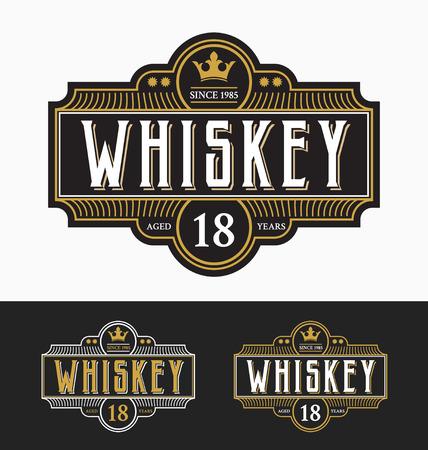 ビンテージ フレーム ラベルのデザイン。ウイスキーやワインのラベル、レストラン、ビールのラベルに適しています。