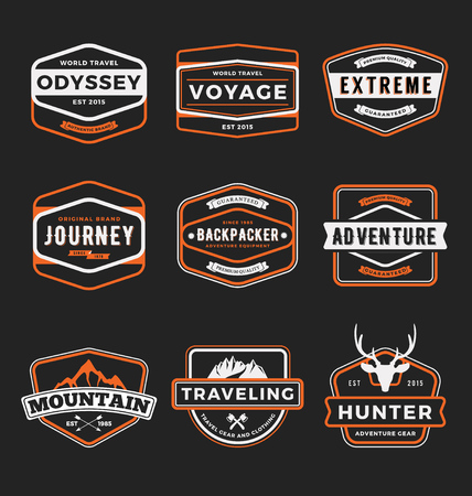 Set of badge logo outdoor adventure and traveling gear badge logo, emblem logo, label design.