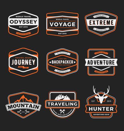 Set of badge logo outdoor adventure and traveling gear badge logo, emblem logo, label design.