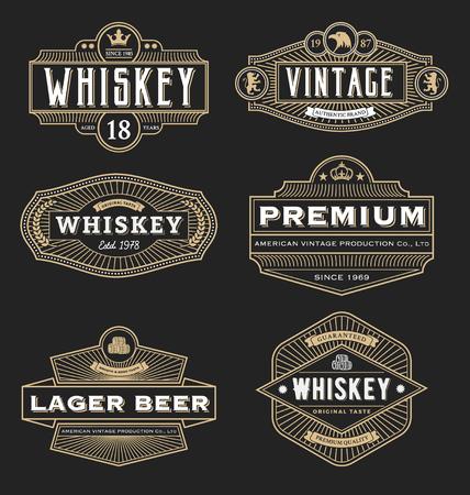 whisky: Conception du cadre vintage pour �tiquettes, banni�re, logo, embl�me, le menu, autocollant et un autre dessin. Convient pour le whisky, bi�re, caf�, h�tel, station, des bijoux et des produits premium. Tout le type utiliser police gratuite.