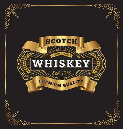 Vintage premium frame label design. Suitable for Whiskey, Jewelry, Hotel, Coffee shop, Restaurant, Barber, Premium business.  일러스트