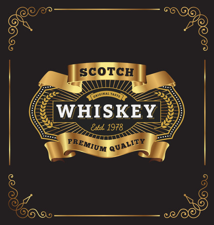 Vintage premium frame label design. Suitable for Whiskey, Jewelry, Hotel, Coffee shop, Restaurant, Barber, Premium business.  Illustration