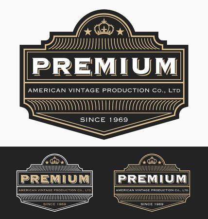 Insignia de la vendimia, diseño de etiquetas para Premium del producto, whisky, cerveza, cervecería Marca, vino u otro producto. Fuente de tamaño variable, libre usado.