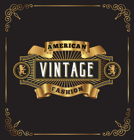 badge logo: Vintage frame label design. Suitable for Whiskey, Jewelry, Hotel, Coffee shop, Restaurant, Barber, Premium business.