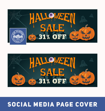 Halloween sale promotion banner for social media page cover and web banner.