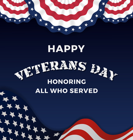 america soldiers: Happy Veterans Day and Background With Wavy USA Flag Design. Vector illustration