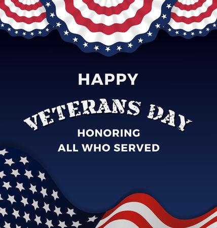 wojenne: Szczęśliwy Dzień Weteranów i tła z faliste USA Flag Design. Ilustracji wektorowych