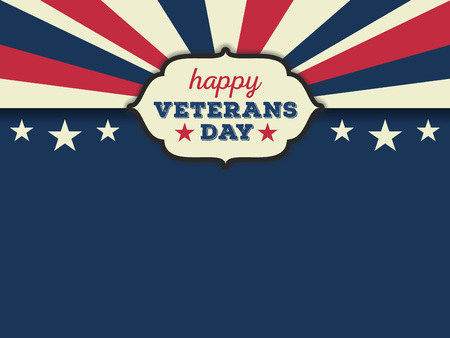 patriotic background: Happy veterans day horizon background. Vector illustration aspect ratio 43