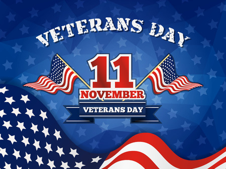 Veterans Day Badge and Background With Wavy USA Flag Design.  Vectores