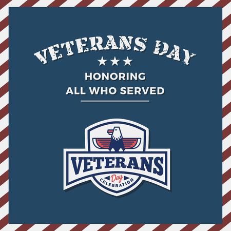 Veterans Day Background and Emblem Logo Design.