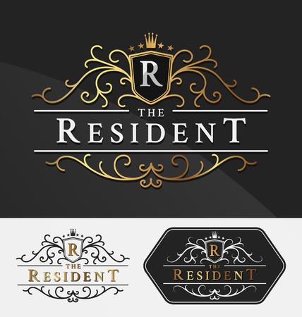 Luxueux Logo royale Vector Re-Design Modèle Convient importante pour les entreprises et les noms de produits, de l'industrie de luxe comme hôtel, mariage, un restaurant, des bijoux et de l'immobilier.