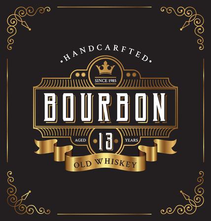řemeslo: Vintage design rámu štítek. Vhodné pro whisky a víno štítku, Restaurace, Pivní etikety. Ilustrace