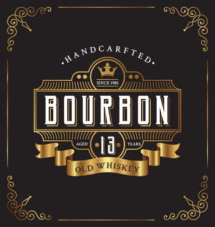 bourbon: Vintage frame label design. Suitable for Whiskey and Wine label, Restaurant, Beer label.
