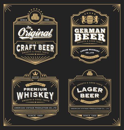 빈티지 프레임 레이블 디자인, 배너, 스티커 및 기타 디자인. 위스키, 맥주와 프리미엄 제품에 적합합니다. 모든 종류의 무료 글꼴을 사용합니다. 일러스트