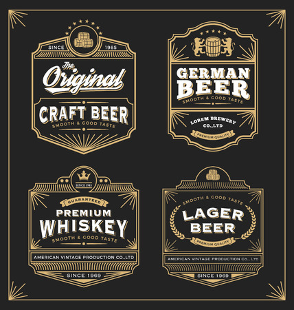 beer in bar: Vintage frame design for labels, banner, sticker and other design. Suitable for whiskey, beer and premium product. All type use free font.
