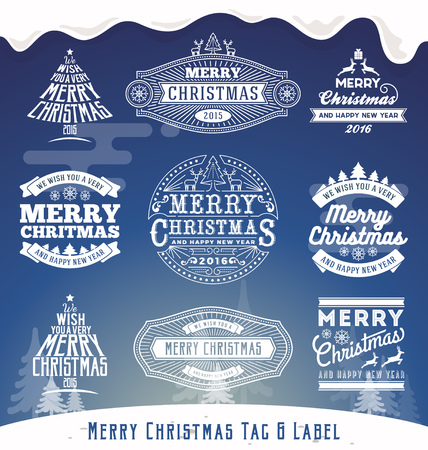new year decoration: Set of Christmas decoration typography tag and label design. Merry Christmas and happy new year 2016.