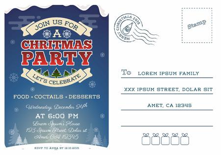 christmas party postcard invitation template design cute christmas
