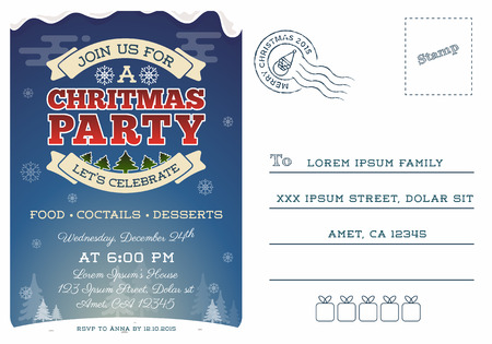 x mas background: Christmas party postcard invitation template design. Cute Christmas invitation. Illustration