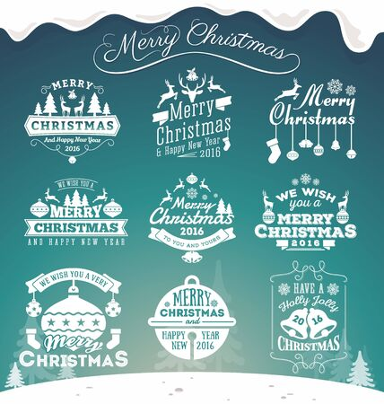 label tag: Set of Christmas decoration typography tag and label design. Merry Christmas and happy new year 2016. Vector illustration