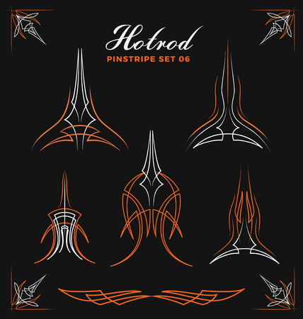 hot rod: Set of vintage pin striping line art. use for vinyl sticker, painting template, tattoo. Vector illustration
