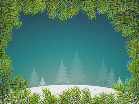 a twig: Snow landscape background with pine twig border. Vector illustration