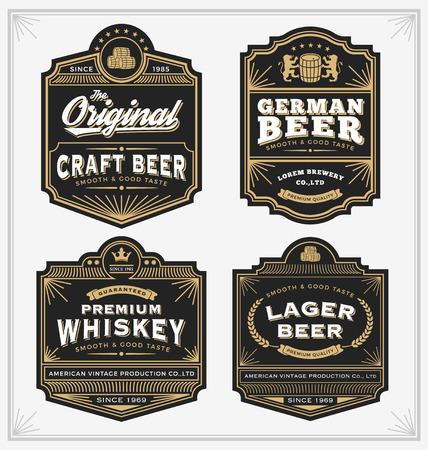 insignias: Dise�o Vintage marco para etiquetas, bandera, etiqueta y otro dise�o. Adecuado para el whisky, la cerveza y el producto de primera calidad. Todo tipo de uso de fuente libre. Vectores