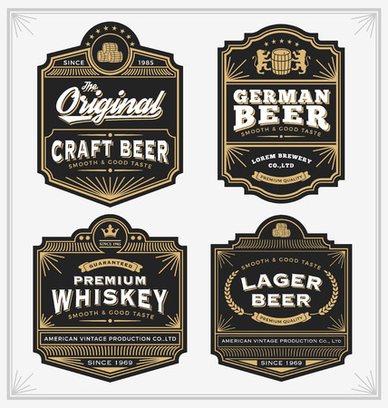 labels: Vintage frame design for labels, banner, sticker and other design. Suitable for whiskey, beer and premium product. All type use free font.