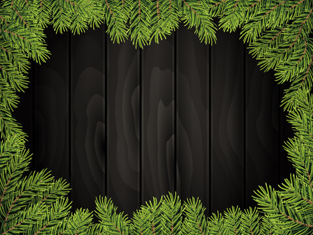 wooden texture: Realistic black wood board background with pine twig border. Vector illustration Illustration