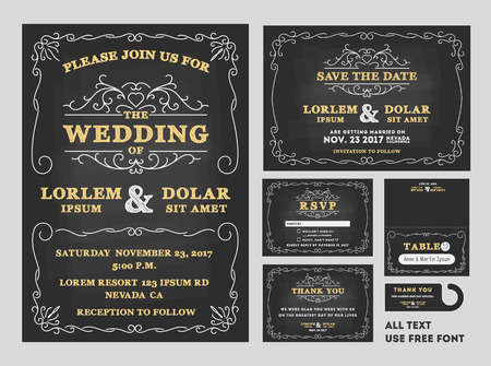 black wedding couple: Vintage Chalkboard Wedding Invitations design sets include Invitation card, Save the date card, RSVP card, Thank you card, Table number, Gift tags, Place cards, Save the date door hanger Illustration