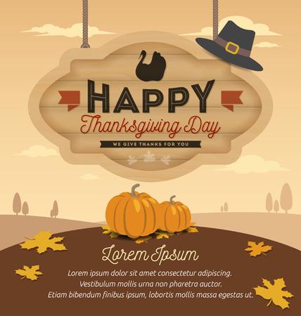pizarra: Feliz Acci�n de Gracias tarjeta del dise�o, Feliz D�a de Acci�n de Gracias en madera que cuelga Junta. Ilustraci�n vectorial