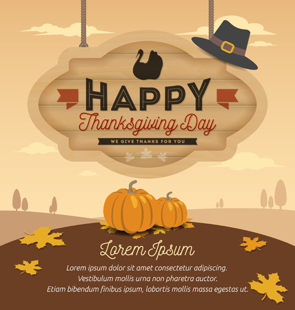 Happy Thanksgiving Card Design, Happy Thanksgiving Day On Wooden Board Hanging. Vector illustration