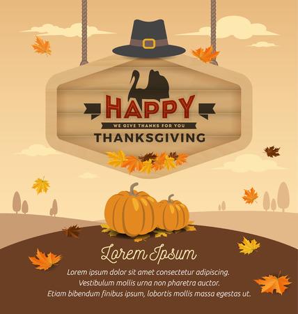 tablero: Diseño Tarjeta de Acción de Gracias feliz. Día de Acción de Gracias feliz en el colgante de tabla de madera. ilustración vectorial