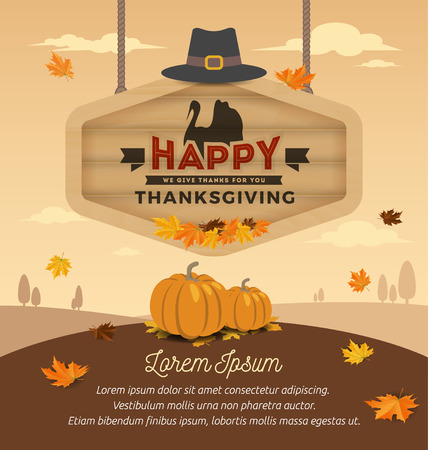 Happy Thanksgiving Card Design. Happy Thanksgiving Day On Wooden Board Hanging. Vector illustration Vettoriali